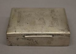 An Egyptian silver cigarette box. 11 cm wide. (152.