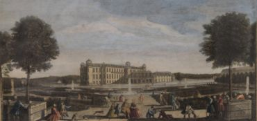 After RIGAUD, Chantilly Palace from the Orangery, coloured engraving, dated within plate 1755,