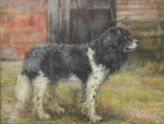 The Working Dog, oil, signed with initials R.H.B, framed and glazed. 32 x 25 cm.