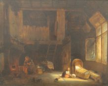 J VAN LIL, Dutch Interior, oil on board, signed and dated 1859, framed. 49 x 38 cm.