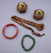 Two Eastern boxes, two Eastern bracelets and a set of antler beads.