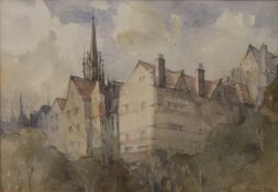 KENNETH ROBERTSON, Ramsey Gardens, Edinburgh, watercolour, signed, old gallery invoice to verso,