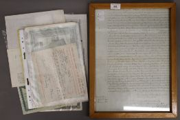 A quantity of loose share certificates and a framed indenture.