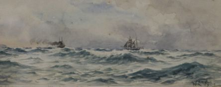 WILLIAM LIONEL WYLLIE (1851-1931) British, Ships in Choppy Waters, watercolour, signed,