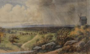 STEVEN WAKEFIELD, County Landscape with Windmill, watercolour, signed and dated 1894,