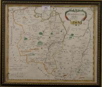 ROBERT MORDEN, an 18th century Map of Huntingtonshire, framed and glazed. 43.5 x 37 cm.