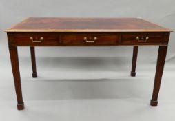 A 19th century mahogany partners writing table. 139.5 cm wide x 82 cm deep.