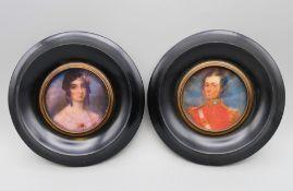 A pair of miniatures. Each 13 cm diameter.
