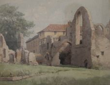 VIC CARTER (20th century), Leiston Abbey, Suffolk, watercolour, signed, framed and glazed.