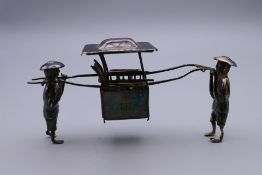 A Chinese silver model of a Sedan chair. 9.5 cm long.