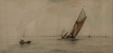 ALBERT MARKS, Sailing Vessels, watercolour, signed ALBERT, framed and glazed. 33 x 15.5 cm.
