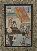 MOGHUL SCHOOL, four paintings on fabric depicting Moghul Princes, etc., unframed.