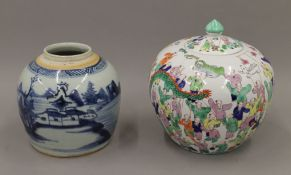 An 18th century Chinese porcelain blue and white ginger jar and a hand painted Chinese porcelain