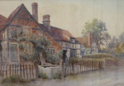 JAMES AITKEN, Cottages at Cropthorne-on-Avon, Worcestershire, watercolour, signed,