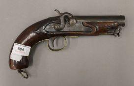 A small 19th century pistol, inscribed Barnett. 25 cm long.