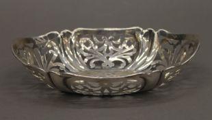 A silver pierced dish. 18.5 cm wide. 3.4 troy ounces.