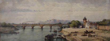 GABRIEL CARELLI (1821-1900) Italian, Bridge Over a River, watercolour, signed, framed and glazed.