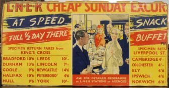 A 1930s LNER ''Cheap Sunday Excursion'' advertising panel.
