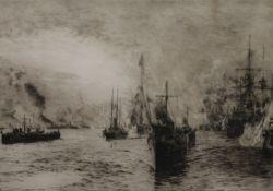 WILLIAM LIONEL WYLLIE (1851-1931) British, Victoria Victrix, 1st February 1901, etching,