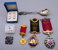 A quantity of miscellaneous items, including Order of the Buffalo medals, earrings, etc.