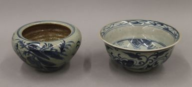 Two Chinese pottery blue and white bowls. The largest 17.5 cm diameter.
