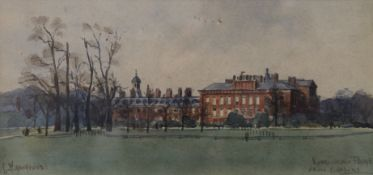 CHARLES HANNAFORD, Kensington Palace from the Gardens, watercolour, signed, framed and glazed.