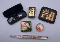 A quantity of miscellaneous items, including a scent bottle, spectacles, etc.