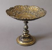 A silver gilt tazza. 16 cm high.