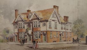 The Essex Hotel, watercolour, signed with initials A.R.M, framed and glazed. 40.5 x 24.5 cm.
