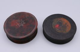 Two Georgian snuff boxes. The largest 7.5 cm diameter.