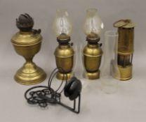 A brass miner's lamp, oil lamp, etc.