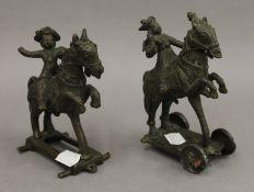 Two Indian bronze horse groups. The largest 14.5 cm high.