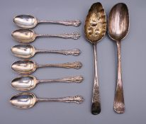 Two Georgian silver spoons and a set of six silver teaspoons. 8.3 troy ounces.