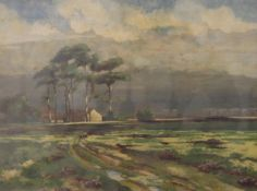 South African Landscape, watercolour, signed with initials G.B.