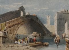 FREDERIC BOURGEOIS DE MERCEY (1803-1860) French, The Rialto, Venice, watercolour, unsigned,