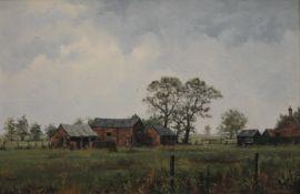 JAMES WRIGHT, Farmyard Scene, oil on canvas, signed, framed. 55 x 36 cm.