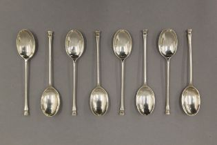 A cased set of eight silver teaspoons