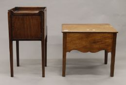 A 19th century mahogany pot cupboard and a converted commode. The former 35 cm wide.