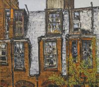 20TH CENTURY SCHOOL, Exterior House Scene, oil on board, indistinctly signed, framed. 97.5 x 87 cm.