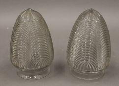 A pair of Edwardian glass light shades. 15 cm high.