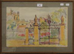 JACQUELINE URQUHAUT, Memorial Gate, Corpus Christi College, watercolour, unsigned,