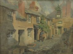 ROBERT DONNAN (1863-1953) British, Cottage Street Scene, oil on artist board, signed,