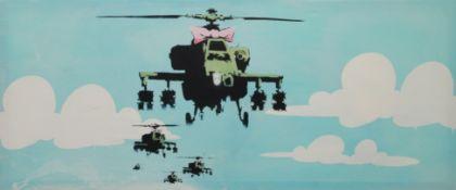 After BANKSY (20th/21st century), Happy Chopper, print on canvas, unframed. 122 x 51 cm.