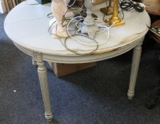 A grey painted single leaf extending dining table. 124 cm wide.