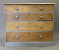A Victorian painted pine chest of drawers. 110 cm wide.