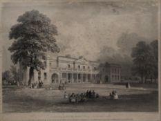 After FLEETWOOD VARLEY (19th century), Addenbrookes Hospital, engraving, framed and glazed. 41.