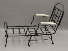 A 19th century wrought iron folding lounger chair. 66 cm wide.