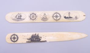 Two bone page turners. The largest 17 cm long.