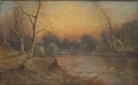 NILS H CHRISTIANSEN, Forest River Scenes, a pair, oils on canvas, each signed, framed. 39 x 24 cm.