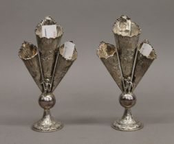 Two silver triple bud vases. 16 cm high. 228.9 grammes.